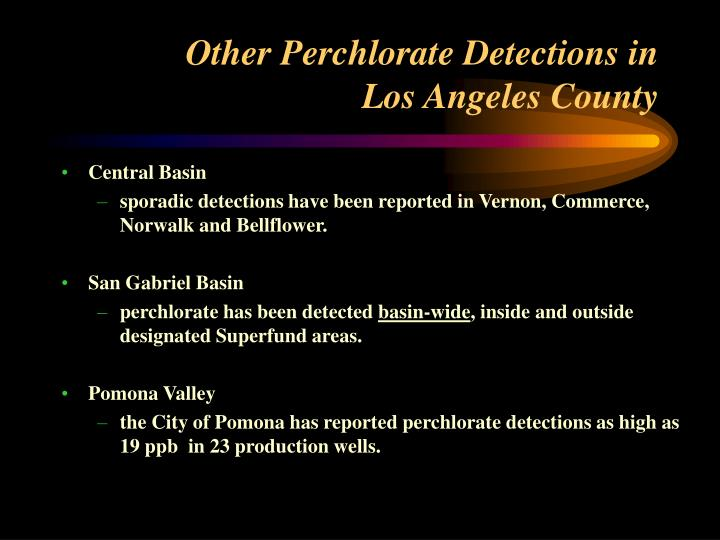 Other Perchlorate Detections in