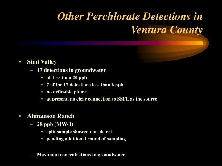 Other Perchlorate Detections in Ventura County