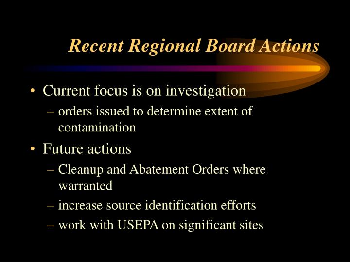Recent Regional Board Actions