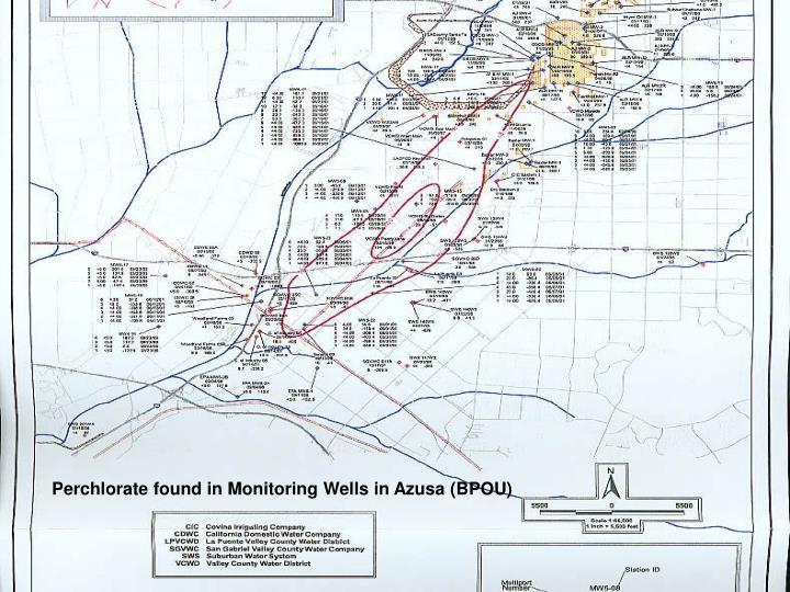 Perchlorate found in Monitoring Wells in Azusa (BPOU)