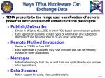 ways tena middleware can exchange data