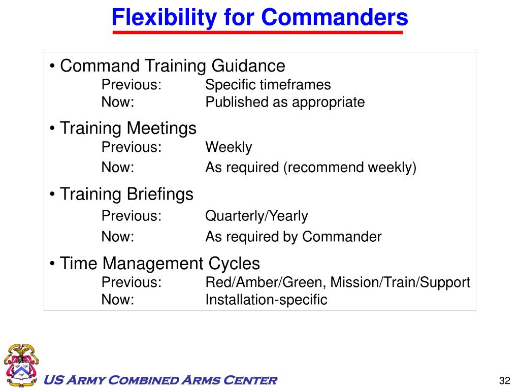 Flexibility for Commanders