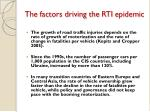 the factors driving the rti epidemic