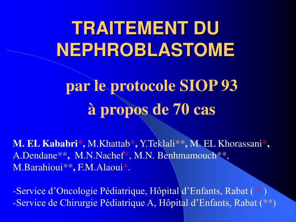 traitement du nephroblastome l.