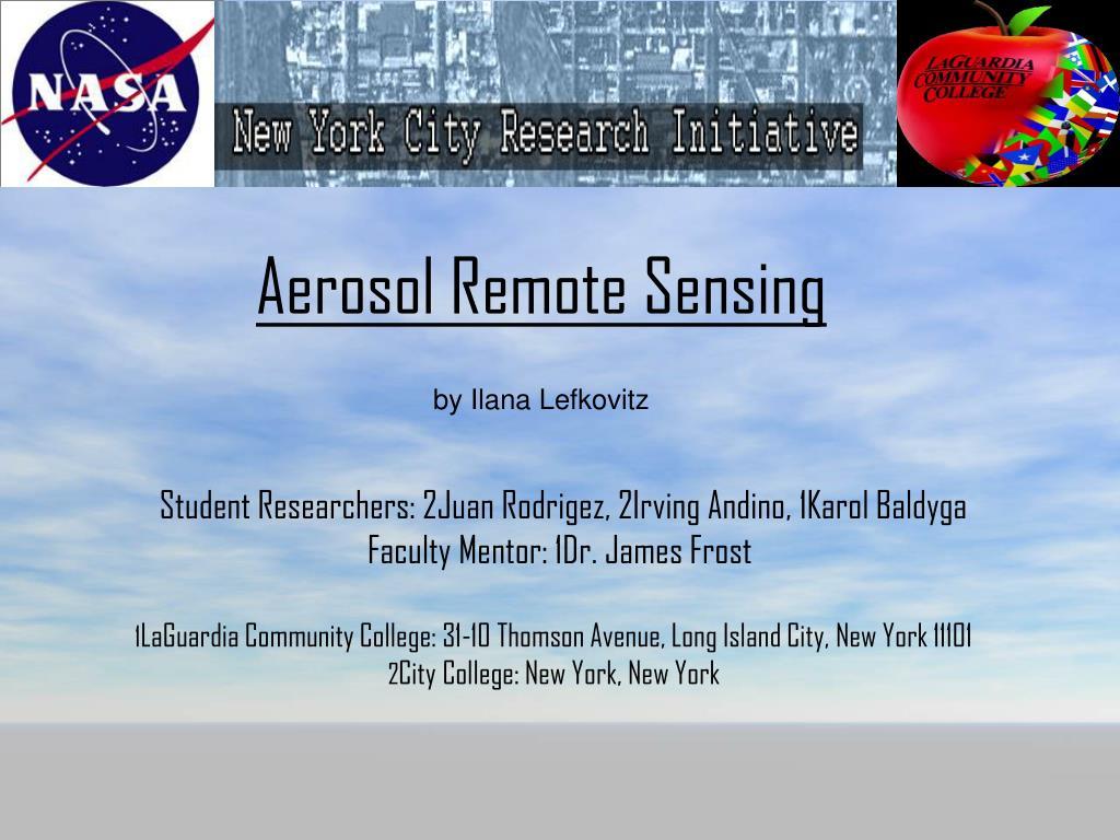 aerosol remote sensing by ilana lefkovitz l.