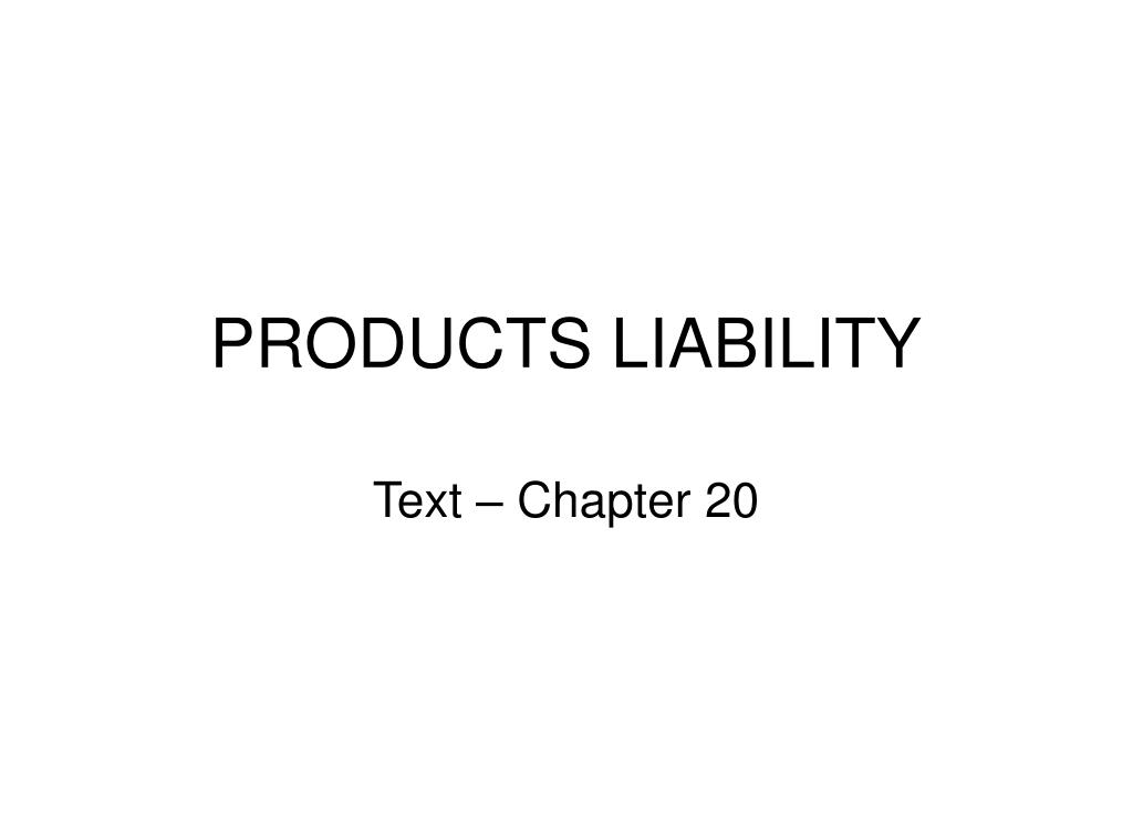 products liability l.