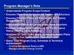 program manager s role