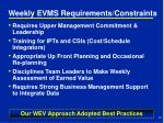 weekly evms requirements constraints