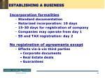 establishing a business
