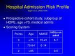 hospital admission risk profile sager et al jags 1996