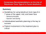 consensus recommendations on the use of botulinum toxin type a in facial aesthetics