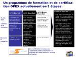 un programme de formation et de certifica tion opex actuellement en 3 tapes