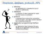directories databases protocols apis
