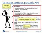 directories databases protocols apis16