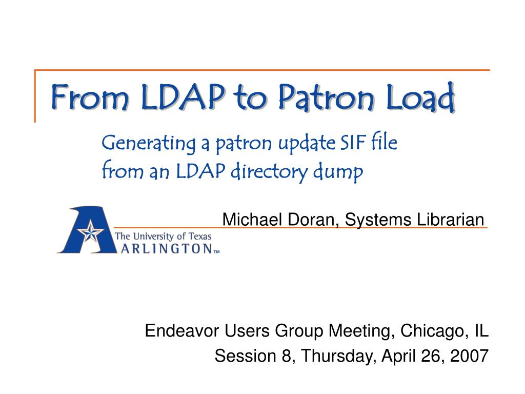 from ldap to patron load generating a patron update sif file from an ldap directory dump l.