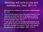 blessings will come on you and overtake you deut 28 1 14