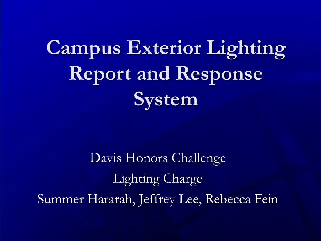 campus exterior lighting report and response system l.