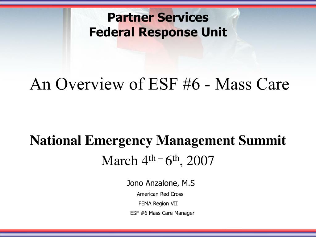 an overview of esf 6 mass care l.