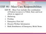esf 6 mass care responsibilities
