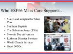 who esf 6 mass care supports