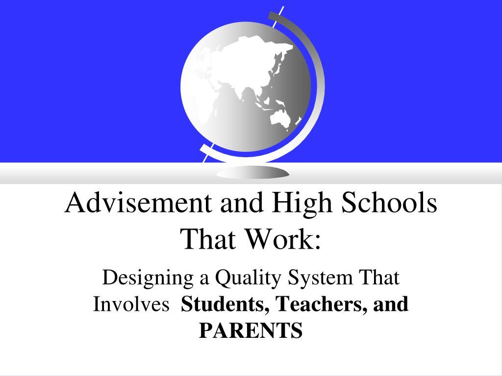 advisement and high schools that work l.