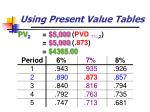 using present value tables
