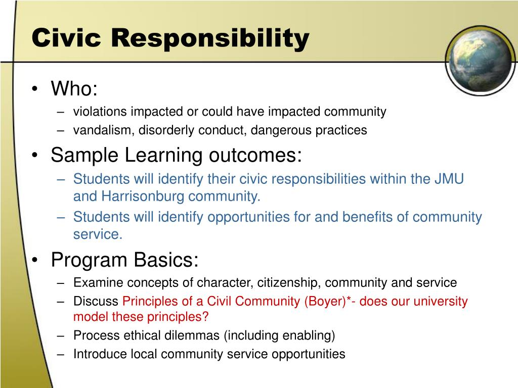 civic responsibilites Spring 2000, vol 8, no 1 fostering civic responsibility this issue of service-learning network identifies the skills that students need to.