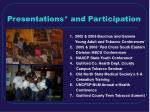 presentations and participation