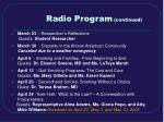 radio program continued