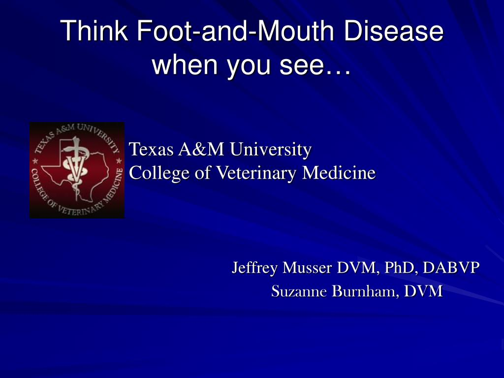 think foot and mouth disease when you see l.