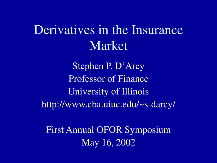 derivatives in the insurance market n.