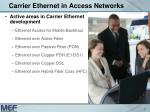 carrier ethernet in access networks