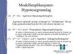 modellimplikasjoner hypotesegrunnlag