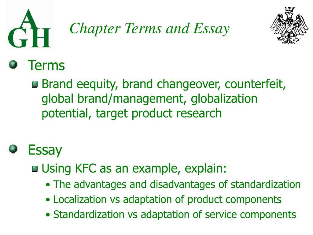 colgate adaptation and standardization essays