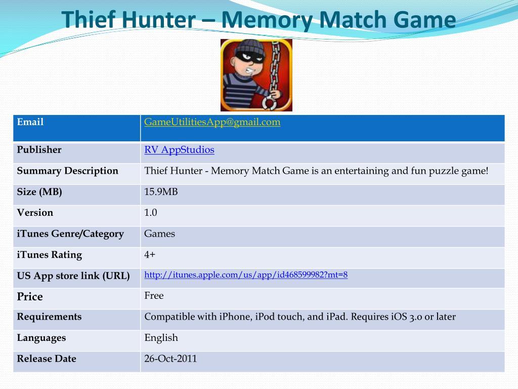 thief hunter memory match game l.