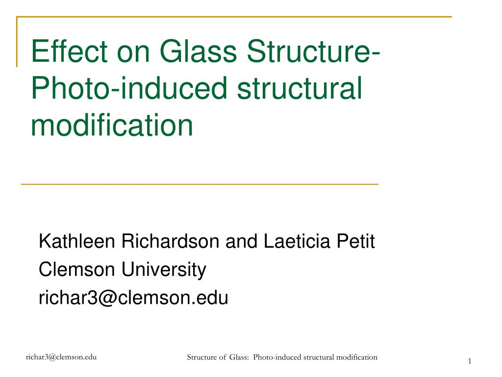 effect on glass structure photo induced structural modification l.