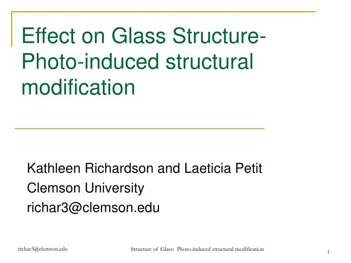 effect on glass structure photo induced structural modification n.