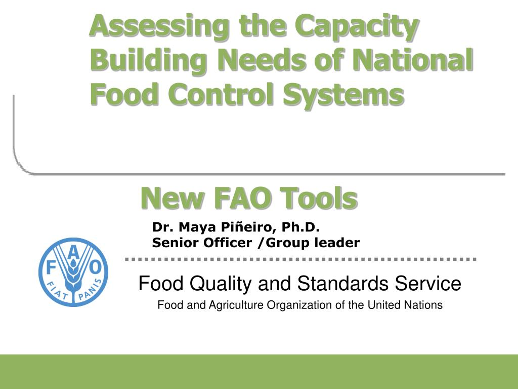 assessing the capacity building needs of national food control systems new fao tools l.