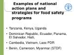 examples of national action plans and strategies for food safety programs