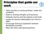 principles that guide our work
