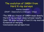 the evolution of smbh from hard x ray surveys