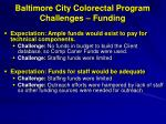 baltimore city colorectal program challenges funding