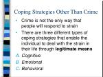 coping strategies other than crime