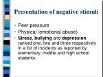presentation of negative stimuli