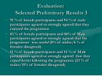 evaluation selected preliminary results 3