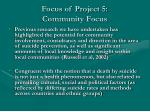 focus of project 5 community focus