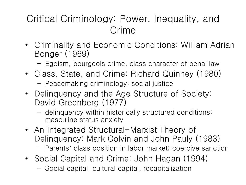 Critical Criminology: Power, Inequality, and Crime