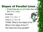 slopes of parallel lines