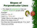 slopes of perpendicular lines