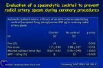 evaluation of a spasmolytic cocktail to prevent radial artery spasm during coronary procedures